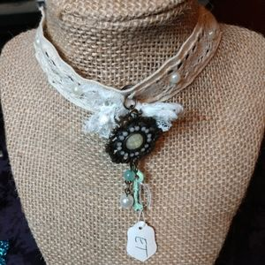 Victorian lace necklace pearls key pendant OOAK 🎀